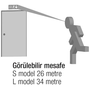 Arselite AE-1020-LC Sýva Üstü Floresanlý Acil Çýkýþ Yönlendirme Armatürü Þebekeden Yanan 8 Watt