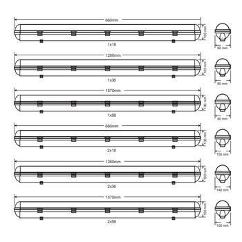 Royalite AE-83223 Acil Aydýnlatma Armatürü Kombine Sürekli ve Kesintide 60 Dak. 2X36 Watt