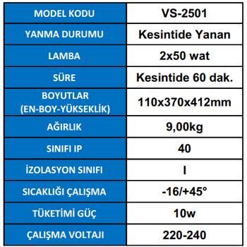 Versalite VS-2501 Acil Aydýnlatma Armatürü Kesintisinde 60 Dak. Yanan 2X50 Watt