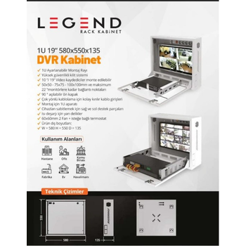 Legend 1U 19 INC 580x550 DVR Kabinet