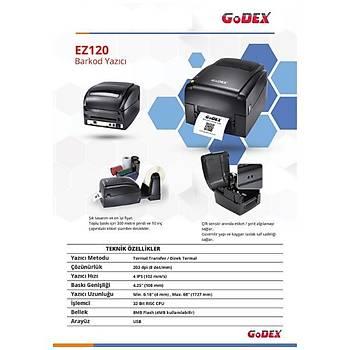 Godex EZ120 Termal Etiket Yazýcý 203 dpi 4 IPS