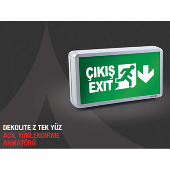 Dekolite Z Serisi Eko AE-4113-LE Acil Çýkýþ Yönlendirme Armatürü Kesintide 180 Dak. Yanan 20xF LED
