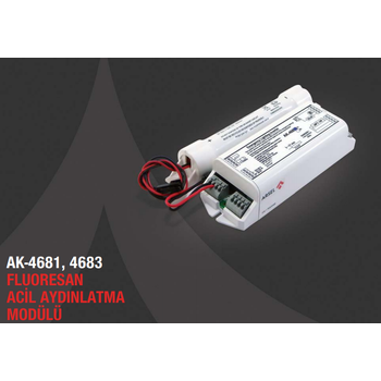 AK-468-1 Fluoresan Ampuller İçin Acil Aydınlatma Kiti Kesintide 60 Dak. Yanan 6-8W T5 Fluoresan