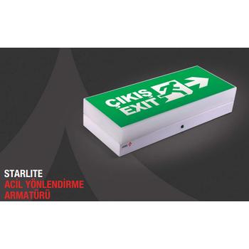 Starlite AE-01213 Acil Çýkýþ Yönlendirme Armatürü Kombine Sürekli ve Kesintide 180 Dak. Yanan 2x8 Watt