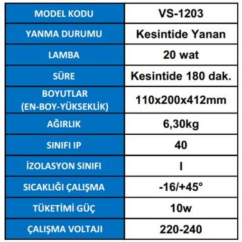 Versalite VS-1203  Tek Spot Acil Aydýnlatma Armatürü Kesintisinde 180 Dak. Yanan