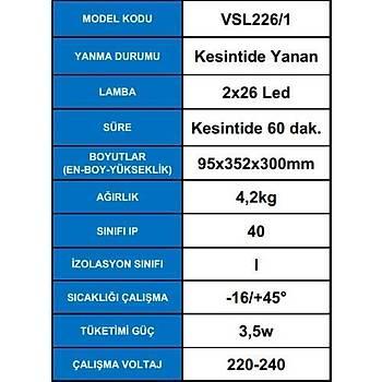 Arsel Versalite LED VSL226/1 Acil Aydýnlatma Armatürü  Kesintide 60 Dak. Yanan 2X1000 Lümen