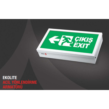 Ekolite AE-6010-L Acil Çýkýþ Yönlendirme Armatürü Þebekeden Yanan 20xF LED