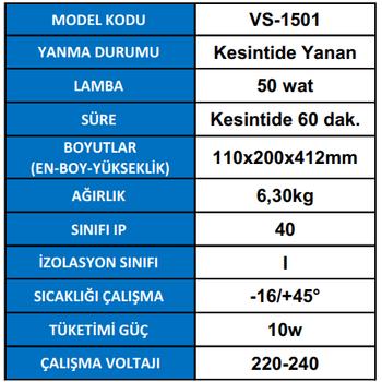 Versalite VS-1501 Tek Spot Acil Aydýnlatma Armatürü Kesintisinde 60 Dak. Yanan 50 Watt