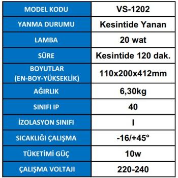 Versalite VS-1202 Tek Spot Acil Aydýnlatma Armatürü kesintisinde 120 Dak. Yanan