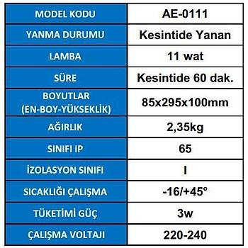 Arsel Rubelite AE-0111 Acil Aydýnlatma Armatürü Kesintisinde 60 Dak. Yanan 11 Watt