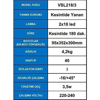 Arsel Versalite LED VSL218/3 Acil Aydýnlatma Armatürü  Kesintide 180 Dak. Yanan 2X750 Lümen