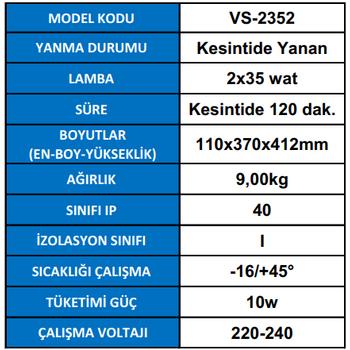 Versalite VS-2352 Acil Aydýnlatma Armatürü Kesintisinde 120 Dak. Yanan 2X35 Watt