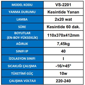 Versalite VS-2201 Acil Aydýnlatma Armatürü Kesintide 60 Dak. Yanan 2X20 Watt