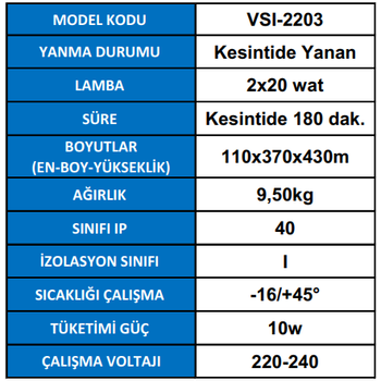 Versalite Inox VSI-2203 Acil Aydýnlatma Armatürü Kesintide 180 Dak. Yanan 2x20 Watt