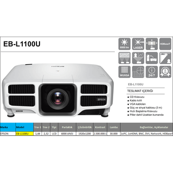 Epson EB-L1100U / V11H735040 Full HD Lazer Projeksiyon Cihazı