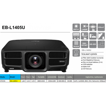 Epson EB-L1405U / V11H739140 Full HD Lazer Projeksiyon Cihazý