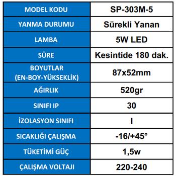 Spotlite SP-303M-5 Acil Aydýnlatma Armatürü Sürekli ve  Kesintide 180 Dak. Yanan 5W LED