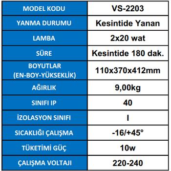 Versalite VS-2203 Acil Aydýnlatma Armatürü Kesintisinde 180 Dak. Yanan 2X20 Watt