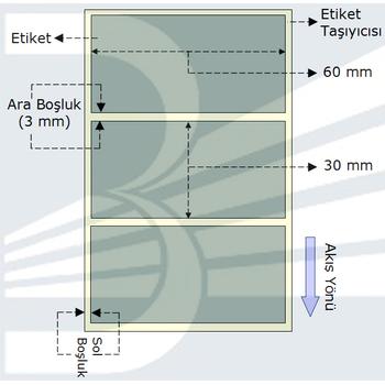 Silver Mat 60x30 mm Barkod Yazýcý Etiketi - 5 Rulo