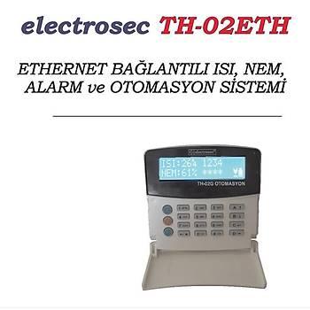 Electrosec TH-02ETH Isý ve Nem Takip Otomasyon Sistemi Ethernet TCP/IP Protokol +1 Prob +16V Adaptör