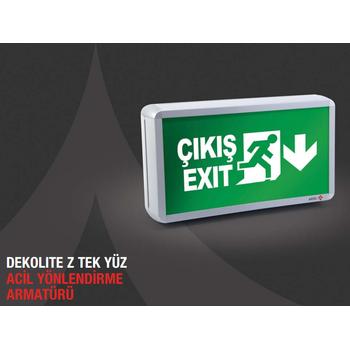 Dekolite Z Serisi Eko AE-4213-LE Acil Çýkýþ Yönlendirme Armatürü Sürekli ve Kesintide 180 Dak. Yanan 20xF Led
