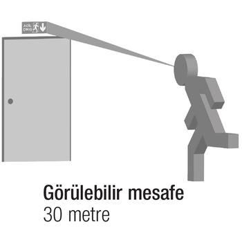 Betalite AEB-03223 Çift Yüzlü Acil Çýkýþ Yönlendirme Armatürü Kombine Sürekli ve Kesintide 180 Dak. Yanan 2x8 Watt