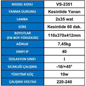 Versalite VS-2351 Acil Aydýnlatma Armatürü Kesintisinde 60 Dak. Yanan 2X35 Watt