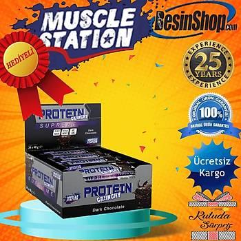 Muscle Station Supreme Crunchy Protein Bar Dark Chocolate 24 Adet