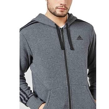Adidas Essential 3 Stripe Hoodie Eþofman Üst CW3880 Gri