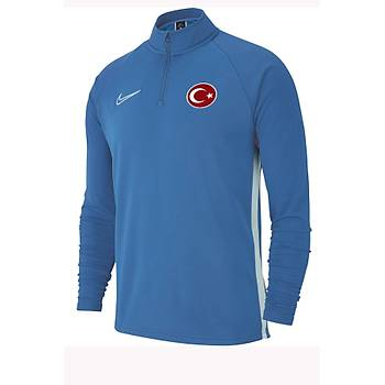Nike Acdmy19 Milli Takým Baskýlý Sweatshirt AJ9094-404 Mat Mavi