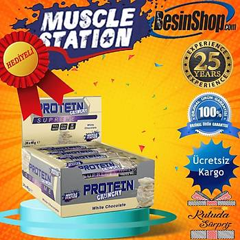 Muscle Station Supreme Crunchy Protein Bar White Chocolate 24 Adet
