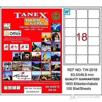 Tanex TW-2018 63.5x46.6 mm Laser Etiket 100 Ad.