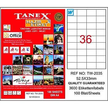 Tanex TW-2035 52,5x33 mm Laser Etiket 100 Ad.