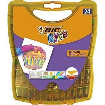 Bic Kids Yaðlý Pastel Boya Çantalý Plastik Kutu 24 Renk