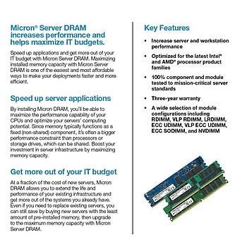 Micron Server RAM DDR4 RDIMM (1x16GB) 1Rx8 3200 CL22 MTA9ASF2G72PZ-3G2E1