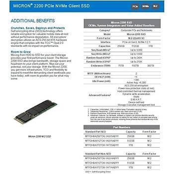 Micron 2200 1024GB 3000MB-1575MB/s NVMe M.2 SSD MTFDHBA1T0TCK-1AT1AABYY Pyrite Ýþ Ýstasyonu SSD