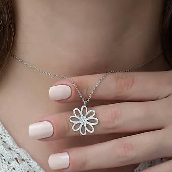 Gümüþ Çiçek Bayan Kolye