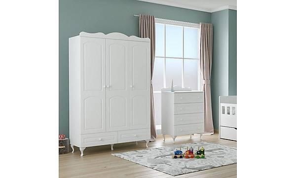 ELÝT - Ev Karyolalý Montessori Bebek Çocuk Odasý Takýmý Beyaz