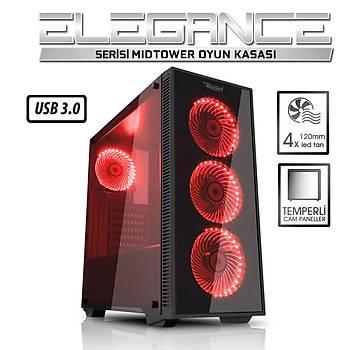 Power Boost VK-G1076R Elegance PSU YOK Kýrmýzý Led Mid Tower Atx Kasa