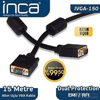 Inca IVGA-150 15 Mt VGA to VGA Erkek-Erkek Altýn Uçlu Blister VGA Görüntü Kablosu