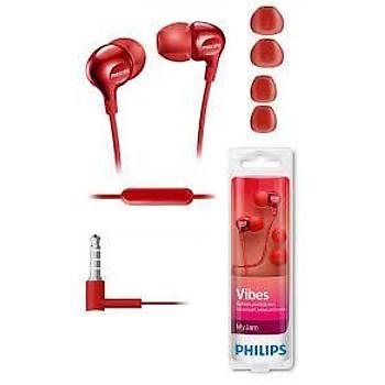 Philips SHE3555RD/00 Kulak Ýçi Kablolu Mikrofonlu Kýrmýzý Kulaklýk