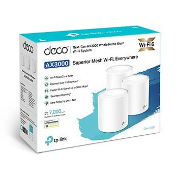 Tp-Link DECO X60 AX3000 2.4/5Ghz DualBant 2 Port Gigabit Lan Mesh Wi-Fi 6 3 lü Paket Access Point