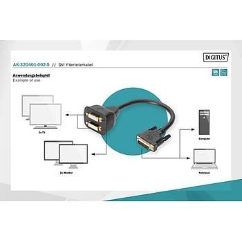 Digitus AK-320401-002-S DVI to 2 x DVI Y 24+5 Dual Link DVI Görüntü Çoklayýcý Adaptör