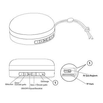 Frisby FS-190BT-G 5W SD Kart Destekli Bluetooth Hoparlör