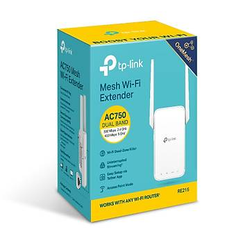 Tp-Link RE215 AC750 2.4/5Ghz Dual Bant 1 Port Ethernet 2 Antenli Menzil Geniþletici