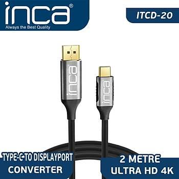 Inca ITCD-02TX 2 Mt USB Type C to DISPLAY PORT 4K Altýn Uçlu Görüntü Kablosu