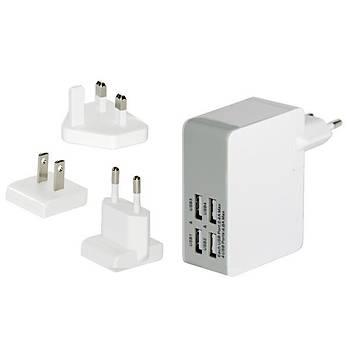 Ednet ED-31809 4 x USB Port Evrensel (EU/UK/US) Seyahat Þarj Seti