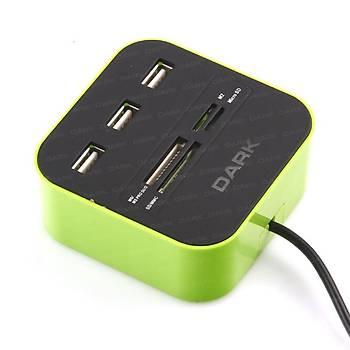 Dark DK-AC-UCR202GN UCR202 Yeþil 3 Port USB 2.0 Çoklayýcýlý Kart Okuyucu