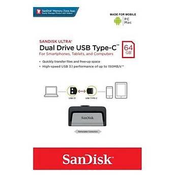 Sandisk SDDDC2-064G-G46 64 GB Dual Drive Type-C USB 3.0 Flash Bellek