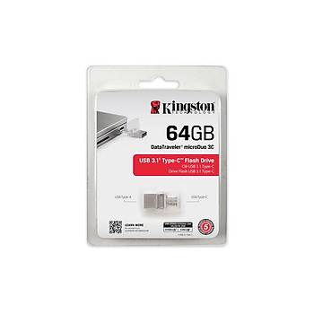 Kingston DTDUO3C/64GB 64 GB Datatraveler microDUO 3C USB 3.1 Flash Bellek
